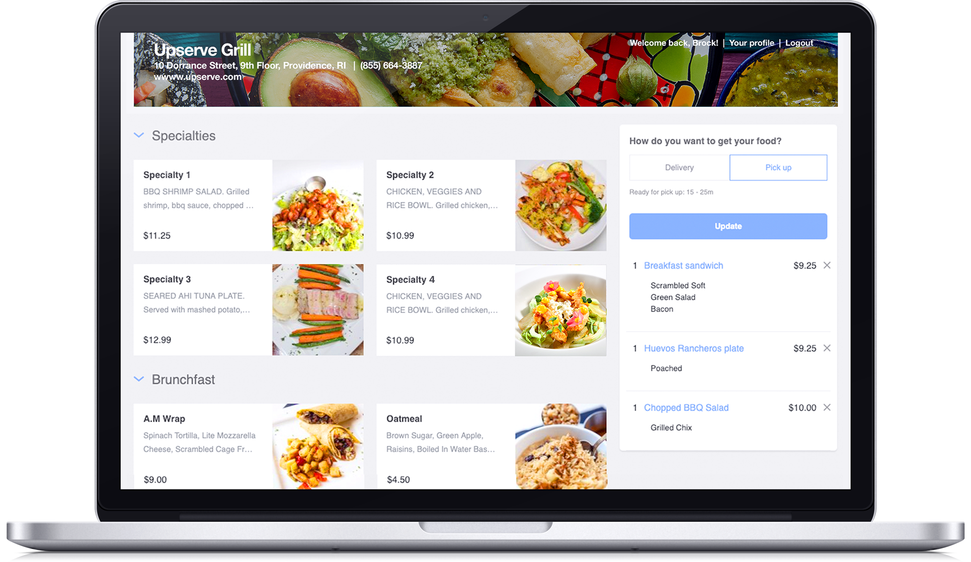 Computer with restaurant online ordering website with food pictures