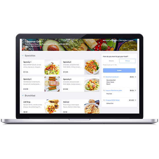 Upserve online ordering website generated for a restaurant through online ordering software