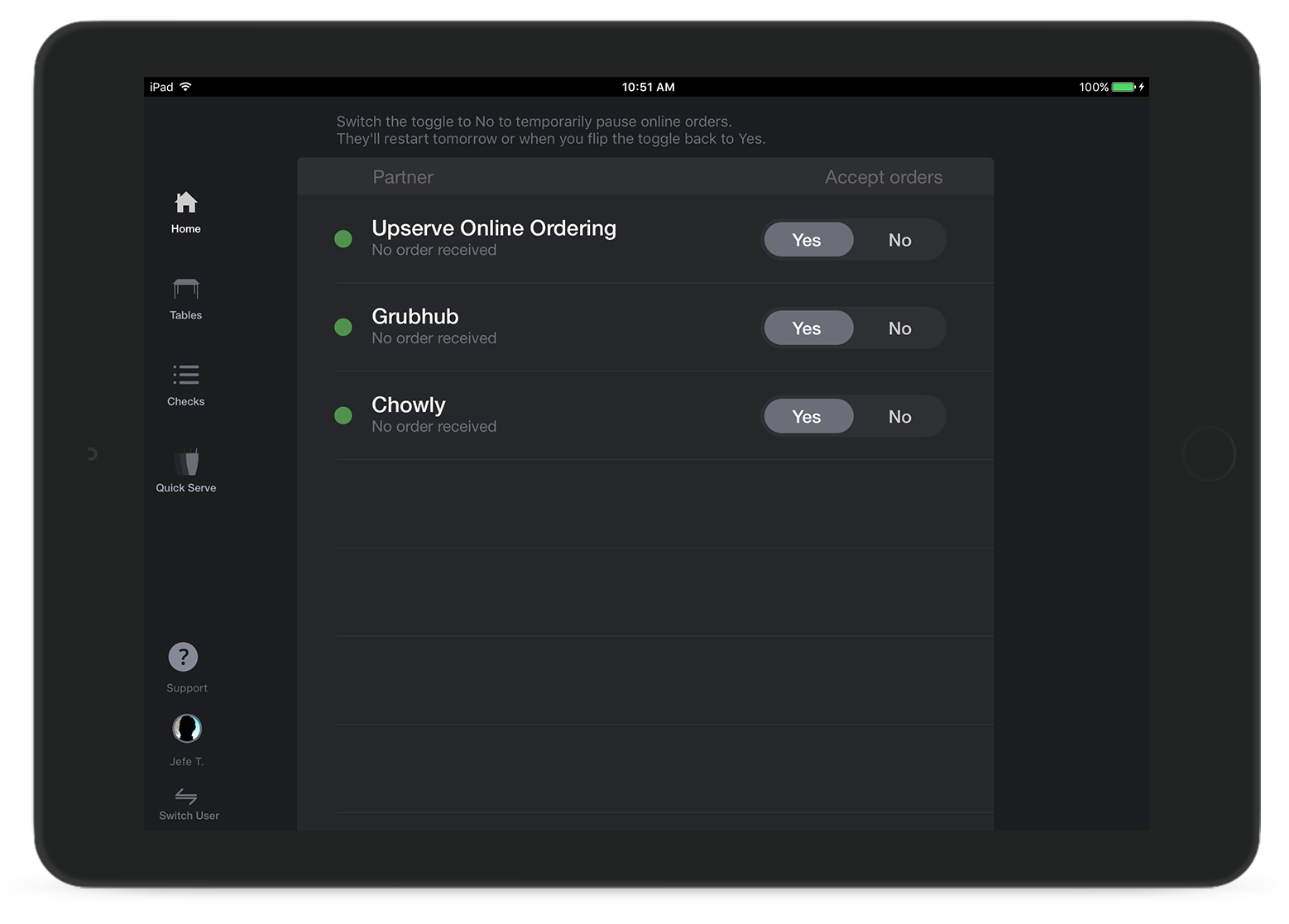 iPad with Upserve POS software's online ordering management center showing which services are enabled