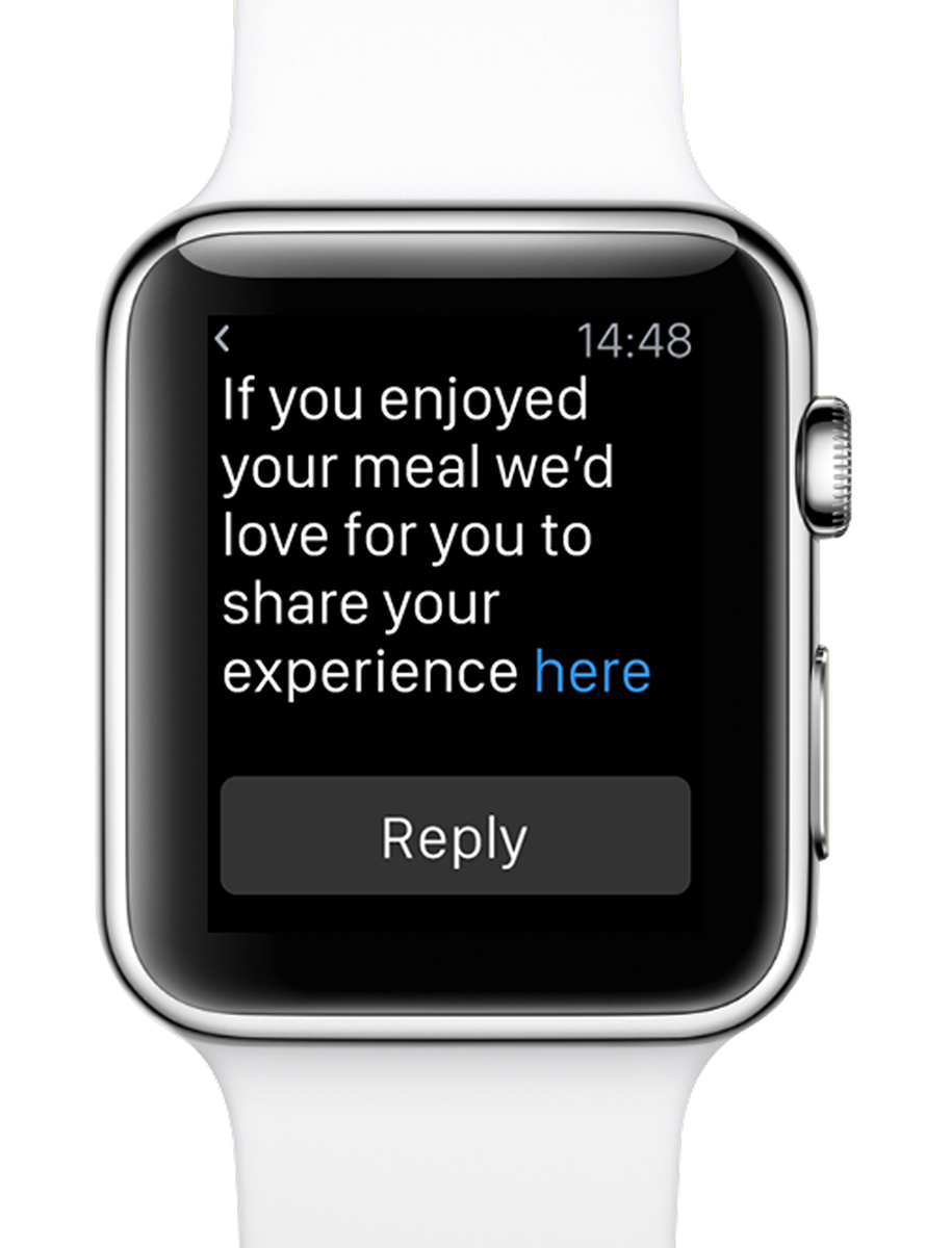 text message requesting a restaurant review on a smart watch