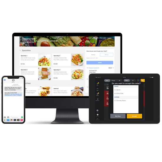 Upserve online ordering bundle showing a text message on a mobile device and POS software on a tablet with a computer showing and online ordering restaurant website
